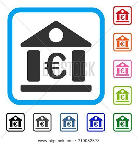 Euro Bank Museum icon. Flat grey pictogram symbol in a light blue rounded squared frame. Black, gray, green, blue, red, orange color additional versions of Euro Bank Museum vector.
