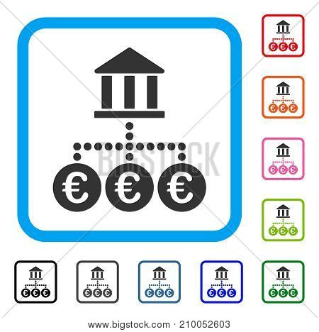 Euro Bank Transactions icon. Flat gray pictogram symbol inside a light blue rounded rectangle. Black, gray, green, blue, red, orange color versions of Euro Bank Transactions vector.