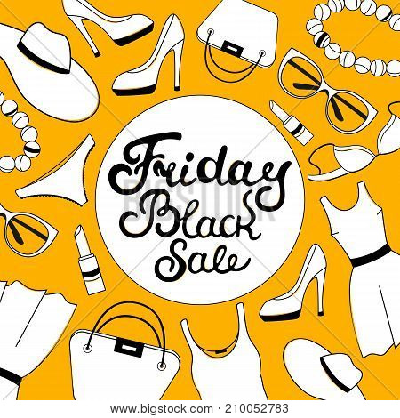 Black Friday sale hand lettering. Women's clothing, shoes, underwear and accessories. Voucher design template