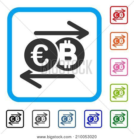 Euro Bitcoin Change icon. Flat grey pictogram symbol in a light blue rounded squared frame. Black, gray, green, blue, red, orange color versions of Euro Bitcoin Change vector.