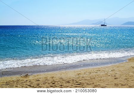 landscape of Saint Prokopios beach Naxos island Cyclades Greece