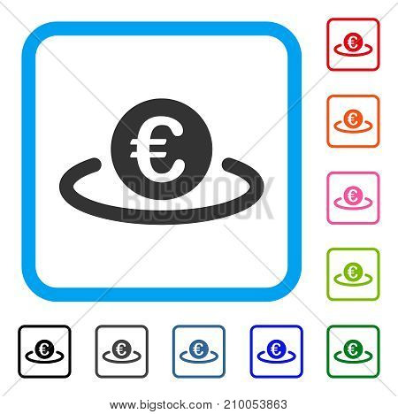Euro Deposit icon. Flat grey pictogram symbol in a light blue rounded squared frame. Black, gray, green, blue, red, orange color versions of Euro Deposit vector. Designed for web and app interfaces.