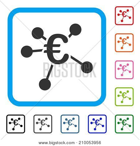 Euro Distribution icon. Flat gray iconic symbol in a light blue rounded frame. Black, gray, green, blue, red, orange color variants of Euro Distribution vector. Designed for web and app UI.