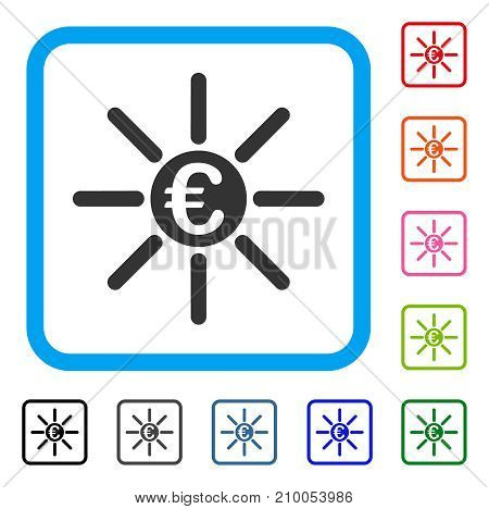 Euro Distribution icon. Flat grey iconic symbol in a light blue rounded square. Black, gray, green, blue, red, orange color variants of Euro Distribution vector. Designed for web and app interfaces.