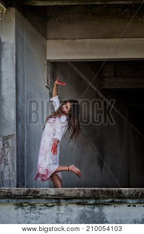 Zombie Ghost Woman Murder With Bloody Stand Dance On Abandoned Building