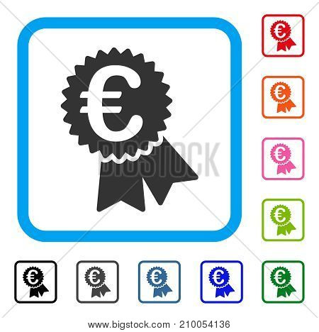 Euro Featured Price Tag icon. Flat grey iconic symbol in a light blue rounded frame. Black, gray, green, blue, red, orange color variants of Euro Featured Price Tag vector.