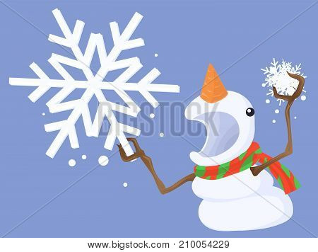 Snowman holding snowflake angry threatening cartoon character, vector illustration horizontal