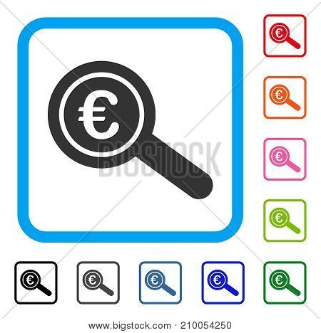 Euro Financial Audit icon. Flat gray pictogram symbol in a light blue rounded rectangle. Black, gray, green, blue, red, orange color variants of Euro Financial Audit vector.