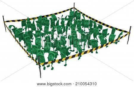 Dollar money symbol cartoon characters crowd cordoned off 3d illustration horizontal isolated over white