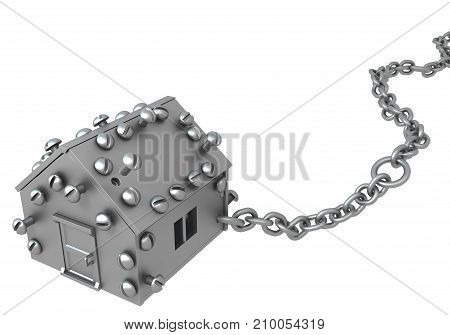 Metal plate small house symbol one chained 3d illustration horizontal isolated over white