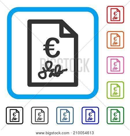 Euro Invoice icon. Flat grey iconic symbol in a light blue rounded squared frame. Black, gray, green, blue, red, orange color additional versions of Euro Invoice vector.