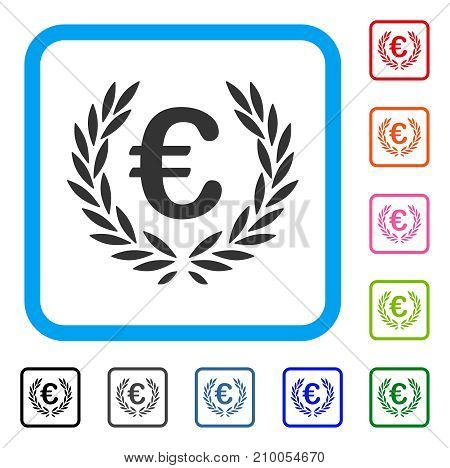 Euro Laurel Wreath icon. Flat gray iconic symbol inside a light blue rounded squared frame. Black, gray, green, blue, red, orange color additional versions of Euro Laurel Wreath vector.