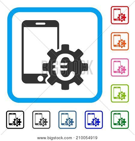 Euro Mobile Bank Configuration icon. Flat grey pictogram symbol in a light blue rounded frame. Black, gray, green, blue, red, orange color additional versions of Euro Mobile Bank Configuration vector.