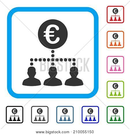 Euro Payment Clients icon. Flat gray iconic symbol in a light blue rounded rectangle. Black, gray, green, blue, red, orange color additional versions of Euro Payment Clients vector.