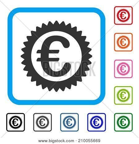 Euro Reward Stamp icon. Flat gray iconic symbol inside a light blue rounded squared frame. Black, gray, green, blue, red, orange color variants of Euro Reward Stamp vector.