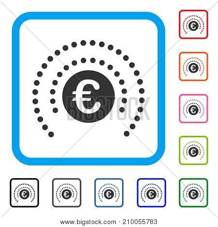 Euro Shield Sphere icon. Flat grey iconic symbol in a light blue rounded rectangle. Black, gray, green, blue, red, orange color additional versions of Euro Shield Sphere vector.