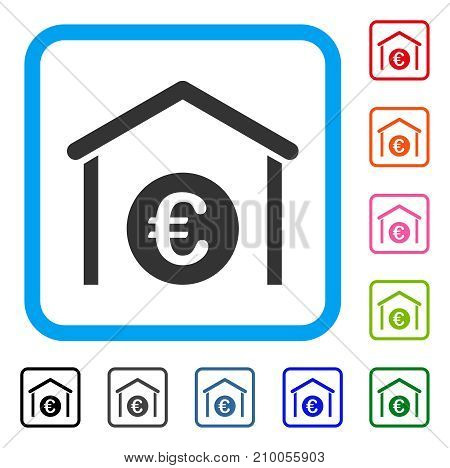 Euro Storage Garage icon. Flat gray iconic symbol in a light blue rounded squared frame. Black, gray, green, blue, red, orange color variants of Euro Storage Garage vector.