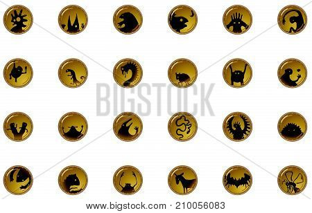 Creature fantasy Halloween cartoon small button symbol set, vector illustration, horizontal, isolated, over white