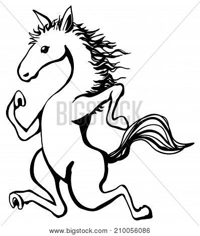 Jogging horse humorous cartoon line drawing, vertical, vector illustration, isolated