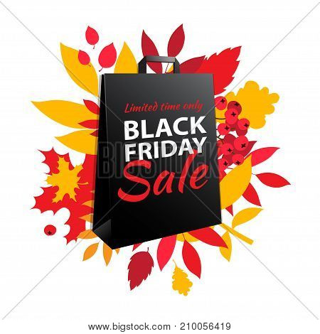 Black Friday Sale Inscription Design. Autumn Fall Leaves Paper Bag.
