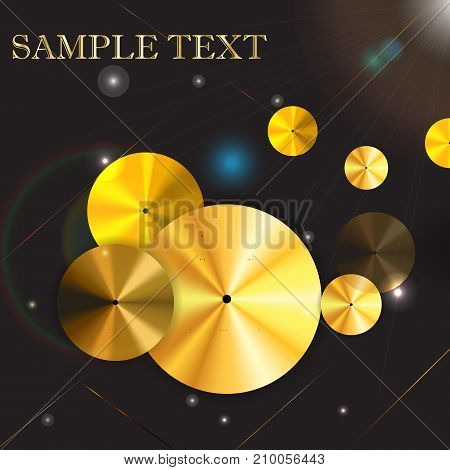 vector circle gold icon metal background. Eps10