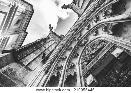 Gothic portico above the entrance to the St Vitus's Cathedral in Prague