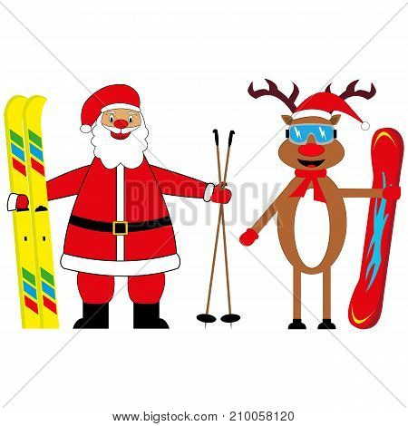 santa claus skier and deer snowboarder illustration