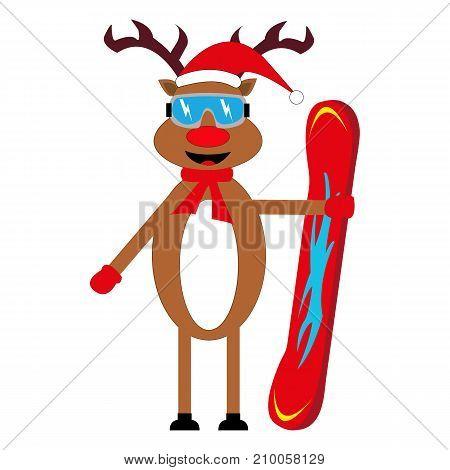 cartoon deer snowboarder on white background illustration