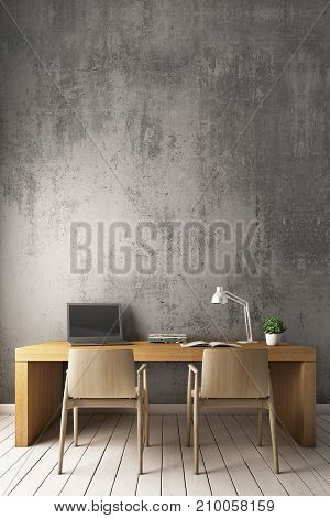 Bare cement wall With modern chairs and desk. 3D Rendering