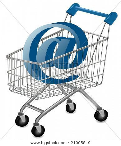 E-mail sign in a shopping cart. Internet shopping concept. Vector.