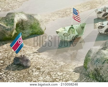 Conflict between USA and North Korea - Concept illustration of the real politics conflict. USA and North Korea relations. United States of America flag and North Korean flag. 3D illustration