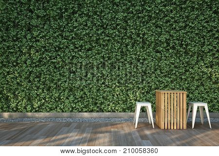 Chairs set on wood deck in the garden. 3D illustration