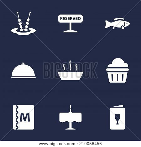 Collection Of Dinner Desk, Canape, Muffin And Other Elements.  Set Of 9 Restaurant Icons Set.