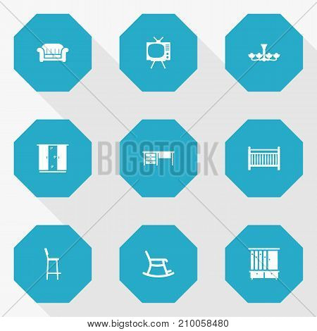 Collection Of Television, Rocking Furniture, Luster And Other Elements.  Set Of 9 Situation Icons Set.