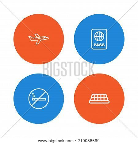 Collection Of Plane, Taxi, Certification And Other Elements.  Set Of 4 Aircraft Outline Icons Set.