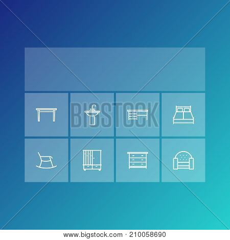 Collection Of Desk, Washbasin, Hall Tree And Other Elements.  Set Of 8 Set Outline Icons Set.