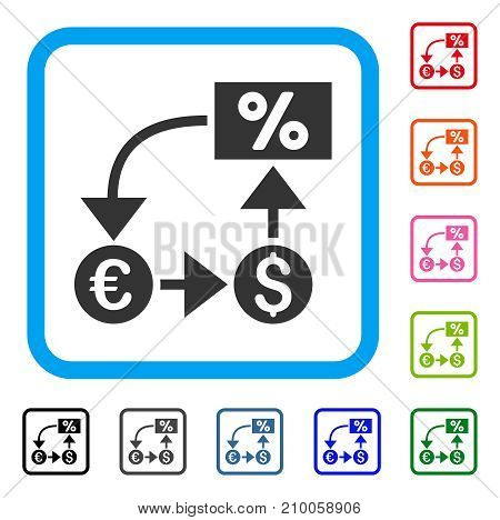 Currency Cashflow icon. Flat gray iconic symbol inside a light blue rounded rectangle. Black, gray, green, blue, red, orange color versions of Currency Cashflow vector.