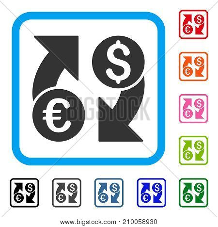 Currency Change icon. Flat gray pictogram symbol inside a light blue rounded rectangular frame. Black, gray, green, blue, red, orange color variants of Currency Change vector.