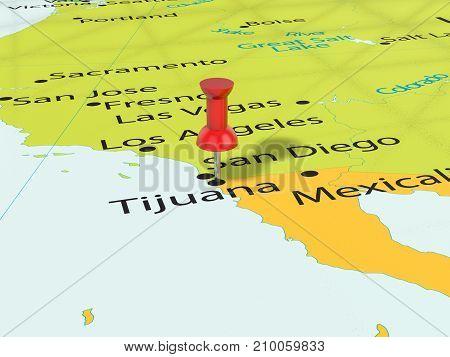 Pushpin On Tijuana Map 3D Illustration