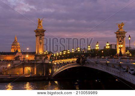 famouse Alexandre III Bridge at violet night, Paris, France