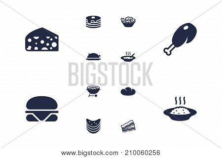 Collection Of Crisp, Fried Poultry, Broth And Other Elements.  Set Of 12 Food Icons Set.