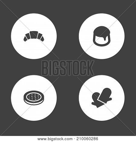 Collection Of Potholders, Dessert, Cake And Other Elements.  Set Of 4 Pastry Icons Set.