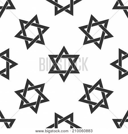 Star of David icon seamless pattern on white background. Flat design. Vector Illustration