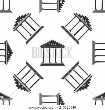 Bank building icon seamless pattern on white background. Flat design. Vector Illustration