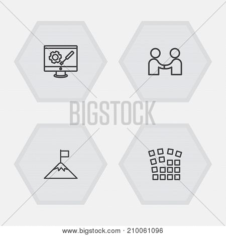 Collection Of Partnership, Development, Grid Structure And Other Elements.  Set Of 4 Idea Outline Icons Set.