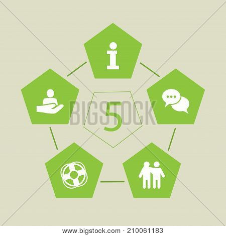 Collection Of Friendship, Safe Ring, Talk And Other Elements.  Set Of 5 Support Icons Set.