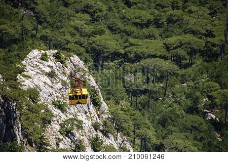 The Cable Car In Crimea Ai-petri On A Background Of Mountains Covered With Clouds