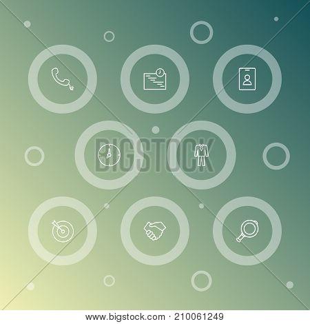 Collection Of Handset, Magnifier, Handshake Elements.  Set Of 8 Management Outline Icons Set.