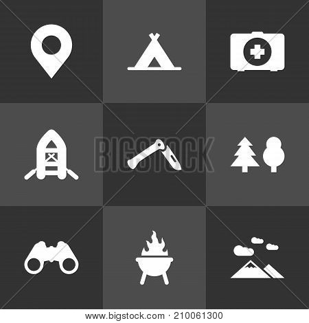Collection Of Location, Tent, Tree And Other Elements.  Set Of 9 Adventure Icons Set.