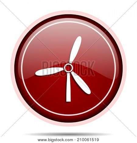 Windmill red glossy round web icon. Circle isolated internet button for webdesign and smartphone applications.